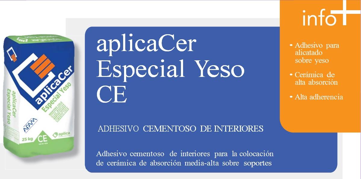 Cemento Cola/Adhesivo cementoso de interiores, aplicaCer Especial Yeso CE
