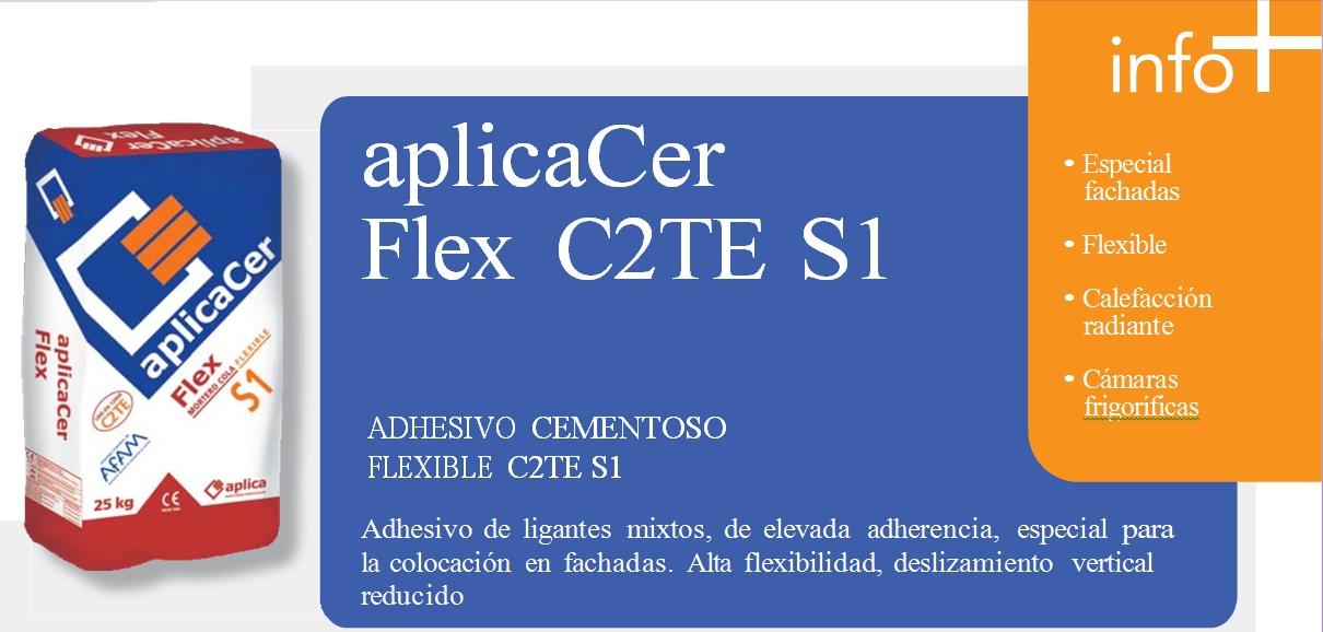 Cemento Cola/Adhesivo cementoso Flexible C2TE S1, aplicaCer Flex C2TE S1