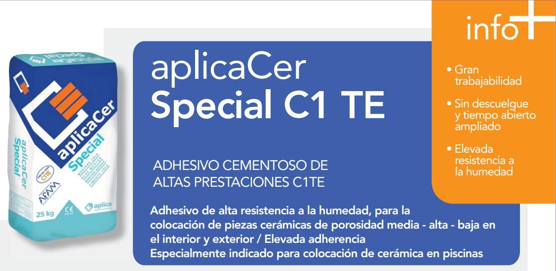 Cemento Cola/Adhesivo cementoso altas prestaciones C1TE, aplicaCer Special C1TE