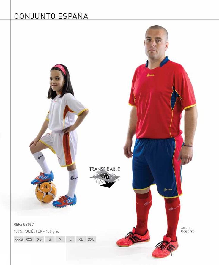 """Equipación deportiva, modelo """"España"""" (3 Colores), Marca Kromex"""