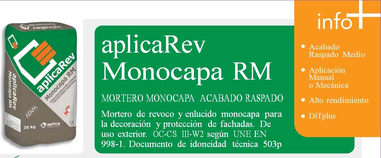 Mortero Monocapa Acabado Raspado, AplicaRev Monocapa RM OC-CS III-W2