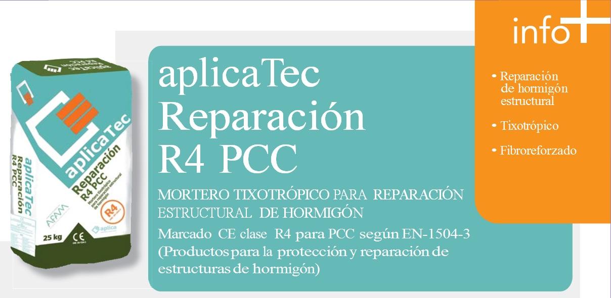 MORTERO TIXOTRÓPICO, aplicaTec Reparación estructural de hormigon R4 PCC