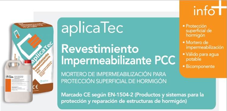 Mortero superficial para hormigón, aplicaTec Revestimiento Impermeabilizante PCC