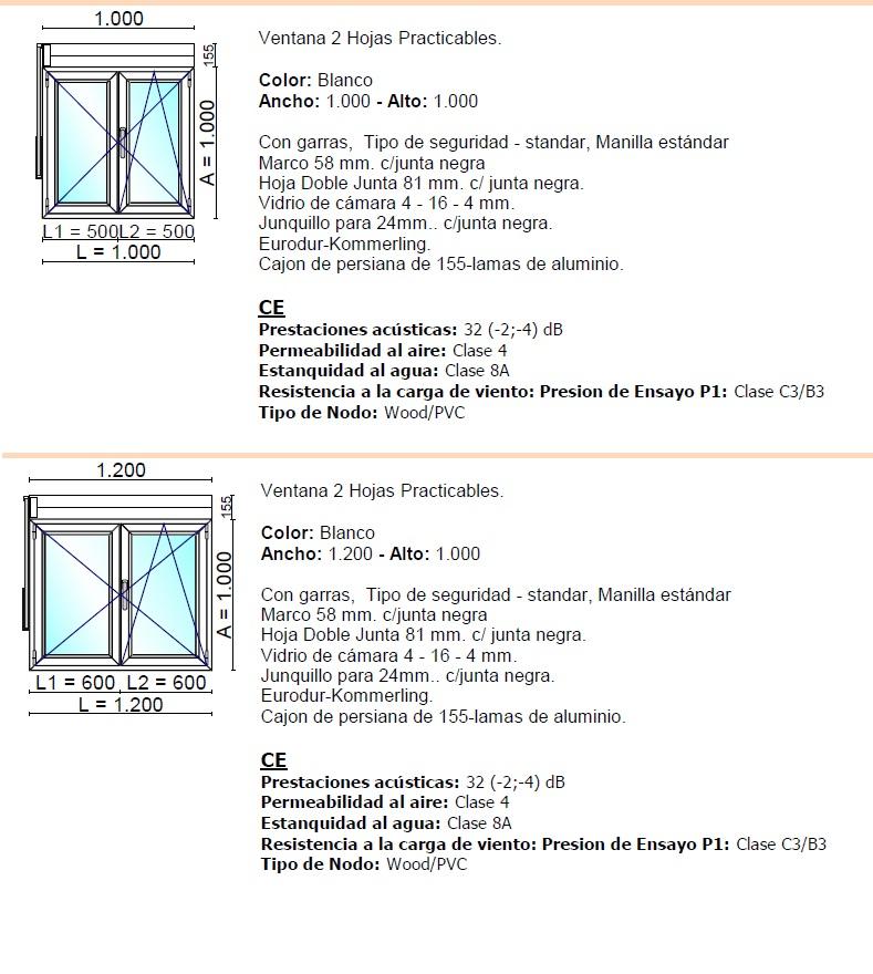 Ventana pvc k mmerling oscilo batiente con persiana 2 for Medidas estandar de ventanas argentina