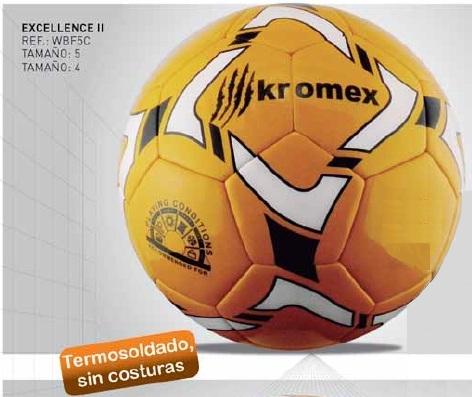 Balón Excellence II Futbol 11 y 7,talla 5 y 4, termosoldado sin costuras, Kromex