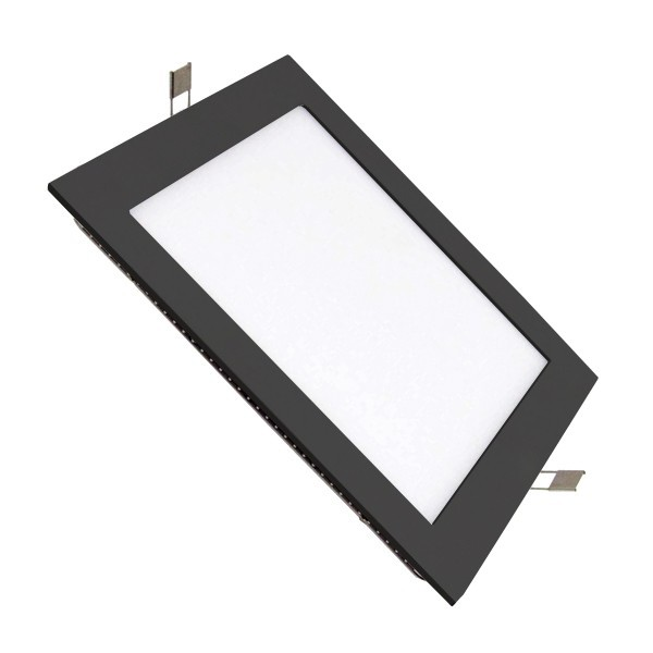 Placa LED Cuadrada SuperSlim 12W Marco Negro