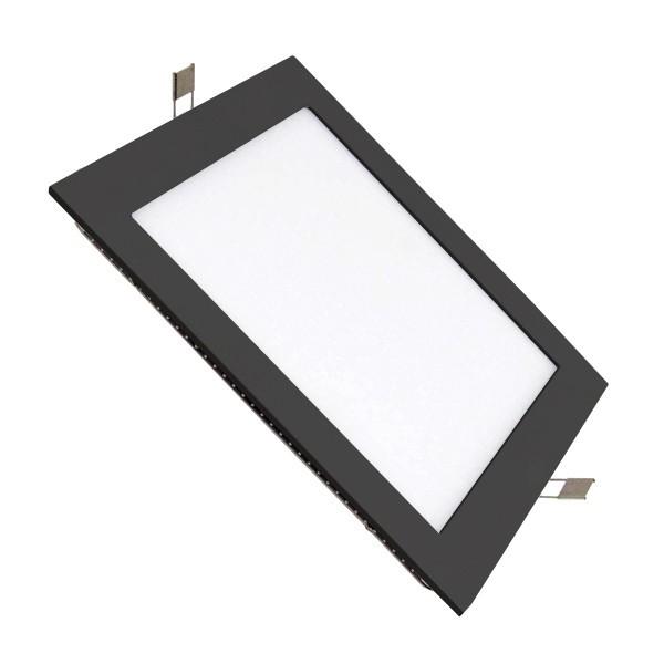Placa LED Cuadrada SuperSlim 12W Marco Negro